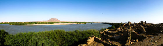 Ruined fortress at the Sai island, Nile river, Sudan Stock Photos