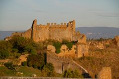 Ruined fortress in Tuscania stock photography