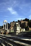 Ruined forum of Rome. Ancient roman forum at sunny day Royalty Free Stock Photo