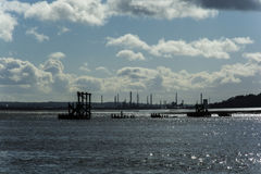 The ruined framework of the Eastham dock.  River mersey Liverpool and Wirral UK Stock Photo