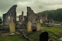 Franciscan Priory and graveyard. Donegal town. county Donegal. Ireland. Ruined Franciscan Priory or abbey and graveyard. Donegal town. county Donegal. Ireland royalty free stock photo