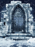 Ruined gate with snow Stock Images