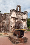 The ruined gates of  Portuguese fort A Famosa, Porta de Santiago Royalty Free Stock Image