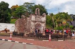 The ruined gates of  Portuguese fort A Famosa, Porta de Santiago Royalty Free Stock Images