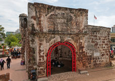 The ruined gates of  Portuguese fort A Famosa, Porta de Santiago Stock Image