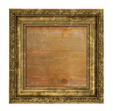 Ruined golden frame with wooden interior Stock Images