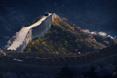 Ruined greatwall and flowers. In spring Stock Photos
