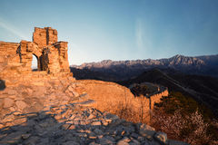 Ruined greatwall in sunrise stock images