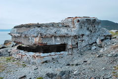 Ruined gun emplacement Royalty Free Stock Image