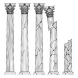 Ruined historical Greek antique columns with capitals of the Korinvinsky warrant vector line illustration royalty free illustration