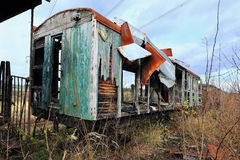The ruined historical Train in the summer green Nature Stock Photo