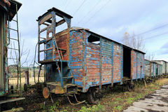 The ruined historical Train in the summer green Nature Royalty Free Stock Images
