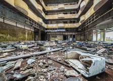 Ruined hotel. Interior of the ruined abandoned hotel on Sao Miguel island, Azores, Portugal Stock Photo