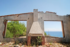 Ruined house. Derelict and ruined house in Sinarades town on Corfu island in Greece Stock Images