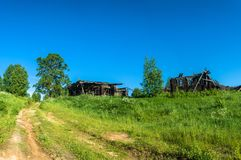 Ruined house in an abandoned village. Stock Image