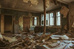 Ruined house building inside after disaster, war, earthquake, Hurricane Royalty Free Stock Images