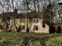 Ruined house,in colour. A ruined farmhouse in color with trees  growing around it Stock Photo