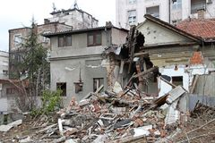 Earthquake. Ruined House Damage After Powerful Earthquake Disaster royalty free stock photography