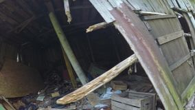 Ruined house in the Donbass stock video footage