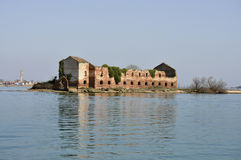 Ruined house in front of Burano island Royalty Free Stock Photography