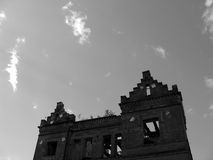 Ruined house. Neo-Gothick style ruined house looking into clear sky Royalty Free Stock Photos
