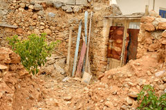 Ruined house in the old part of Malia. Stock Photo