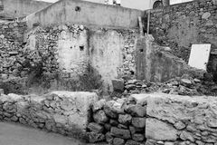 Ruined house in the old part of Malia. Stock Image