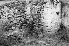 Ruined house in the old part of Malia. Royalty Free Stock Images