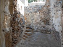 Ruined house in Spinalonga royalty free stock photo