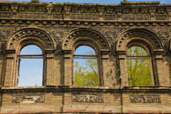 Ruined house. The wall of old ruined house in Kiev Royalty Free Stock Images