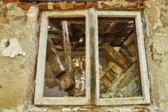 Ruined house window Royalty Free Stock Photos