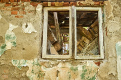 Ruined house window Royalty Free Stock Photo