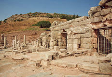 Ruined houses on the hills of city Ephesus, Turkey, founded on 10th century BC. Stock Image