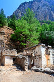 Ruined houses, village, Samaria Gorge Canyon, Crete, Greece Royalty Free Stock Photography