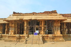 Ruined Indian temple under renovation, Hampi, India Royalty Free Stock Photography