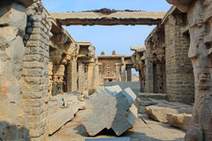 Ruined Indian temple under renovation, Hampi, India Stock Photos