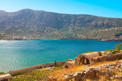 Ruined inner buildings of Spinalonga. Stock Images