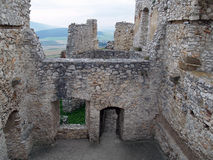 Ruined interior of Spis castle, Slovakia stock photos