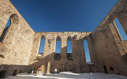 Ruined interior of St. Brigitta convent Royalty Free Stock Images