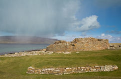 Ruined Iron-age Broch. Broch of Gurness. Ancient settlement on Orkney's mainaland Stock Images