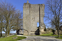 Ruined keep at Domfront in France Royalty Free Stock Photos