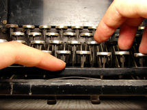 Ruined keyboard with hands Royalty Free Stock Photography