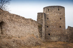 Ruined Koporye Fortress in historic village Stock Images
