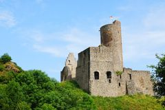 Ruined lion's Castle on the Monreal Royalty Free Stock Photography