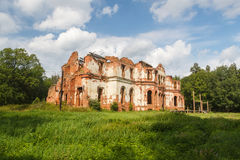 Ruined manor house in Gostilitsy stock photo