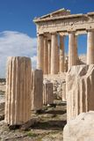 Ruined marble columns in front of Parthenon Stock Images