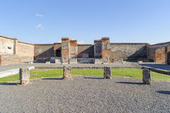Ruined market place in Pompeii. Royalty Free Stock Photo