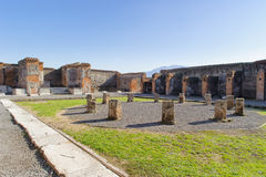 Ruined market place in Pompeii. Royalty Free Stock Image