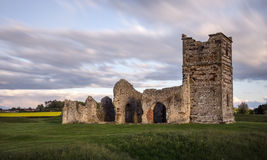 Ruined Mediaeval Church. The ruins of Knowton Church sit in the center of an ancient Neolithic henge Stock Images