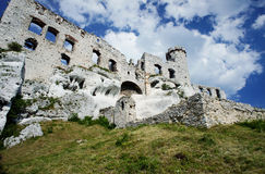 Ruined medieval castle in Ogrodzieniec stock image
